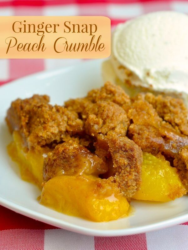 Ginger Snap Peach Crumble - a perfect summer dessert! The flavors of ginger & peach go amazingly well together in this deliciously different peach crumble.