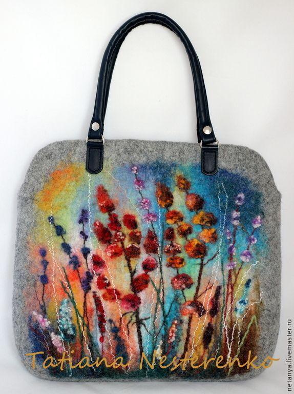 "Сумка ""Травы луговые"" - серый,цветочный,Мокрое валяние,валяная сумка,сумка из войлока"