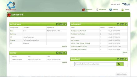 RicohDocs offering Document Management solutions with Customizable Dashboard as per user requirement.