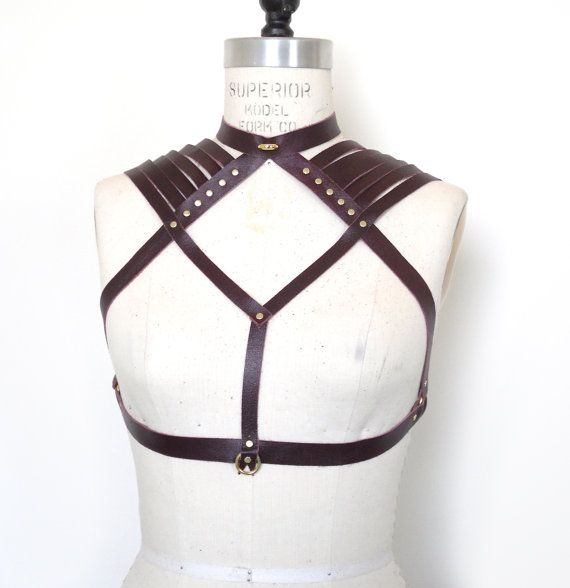 Aisling Leather Chest Harness Cup Less Bra by LoveLornLingerie