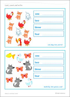 Worksheets to learn English nouns