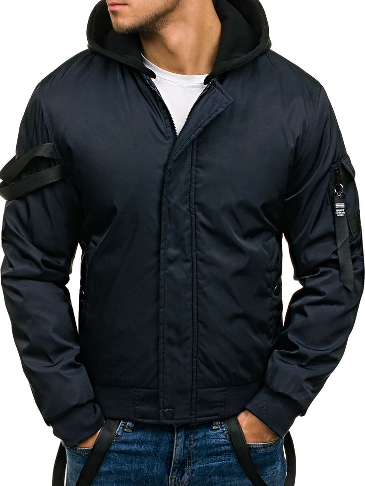 Navy blue men's jacket Manufactured for Bolf by Nature The model (182 cm, 82 kg) is wearing size XL Fabric: 100% Polyester