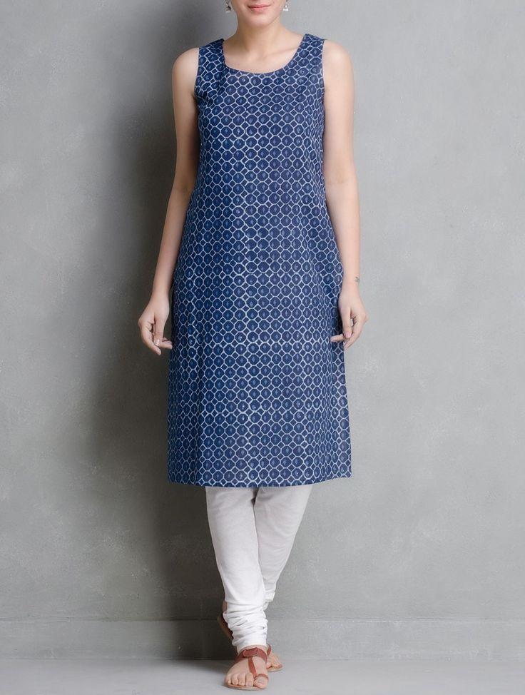 Buy Indigo Hand Block Printed Cotton Kurta With Jacket Set of 2 by Aavaran Online at Jaypore.com