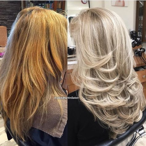 """Major Olaplex color correction by @jackmartinsalon! Here's how they did it: """"A very heavy full highlight using a free hand balayage technique close to roots all the way to the ends in order to achieve a pale blonde with Olaplex using Wella Blondor and 30 vol on the back. Then, the same formula with 40 vol to the front (to balance the blonde since we started foiling in the back) then used Pravana express toner in pearl for 10 min, then rise. Apply Olaplex No. 2 for 20 minutes then shampoo…"""
