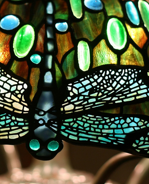 Hanging Head Dragonfly Shade on Mosaic and Turtleback Base, Tiffany Studios, attributed to Clara Pierce Wolcott, dragonfly eyes