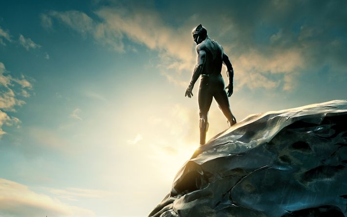 Download wallpapers Black Panther, 2018, Chadwick Aaron Boseman, Superheroes, Marvel Comics