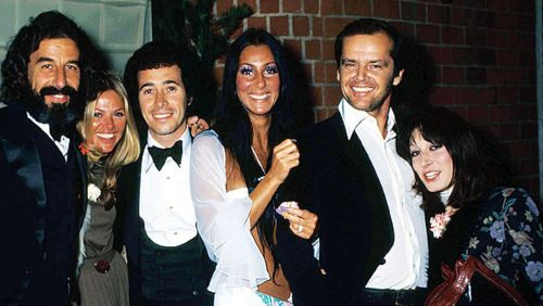 Lou Adler, Britt Ekland, David Geffen, Cher, Jack Nicholson and Anjelica Huston at the 1974 Grammys