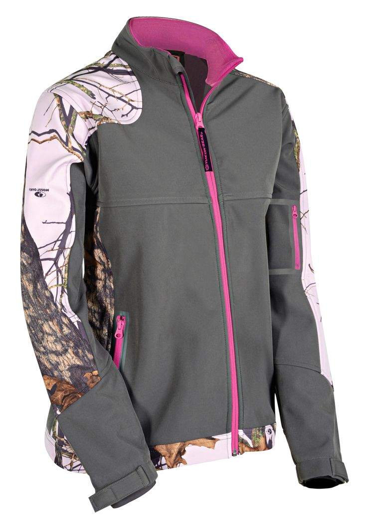 For fall, winter, spring and even cool summer nights this is the ultimate go-to jacket. Windproof, water resistant and fleece lined with just enough camo to make a statement and a feminine cut that is also forgiving, this jacket is versatile and stylish. Welded hand and sleeve pockets provide storage and poly-stretch wrist gaiters seal out cold air while providing extra comfort. Featuring Mossy Oak® camo this jacket is a must-have.