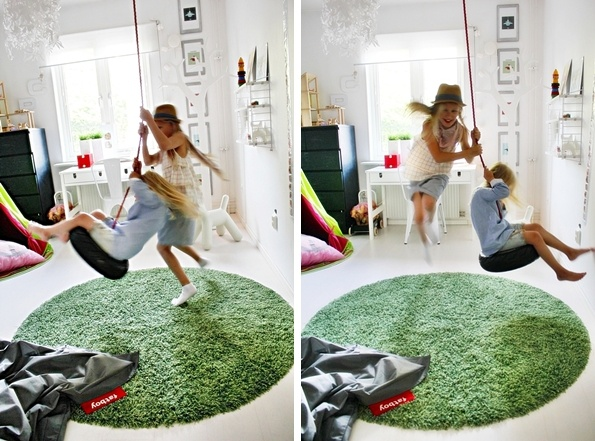 """Nature-inspired girls room. Green """"grass"""" carpet, woods wallpaper by Cole & son."""