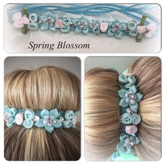 Spring Blossom ribbon bun wrap  flower bun crown by PrimaBunDesign