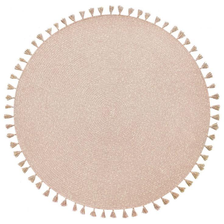 Superb Geflochtener Baumwoll Teppich uHeloise u puderrosa rund cm
