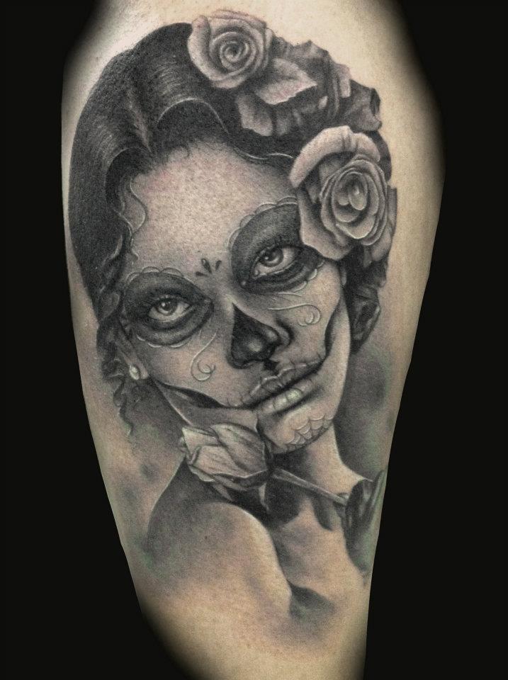 Black and white sugar skull tattoo   Tattoos   Pinterest
