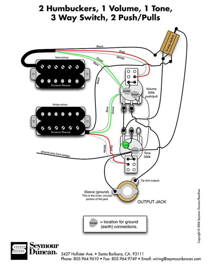 How do I wire an HH guitar with 3way switch? Guitar