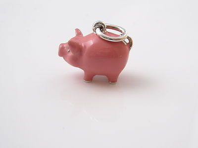 Brand New Auth Tiffany Amp Co Silver Pink Enamel Pig Charm