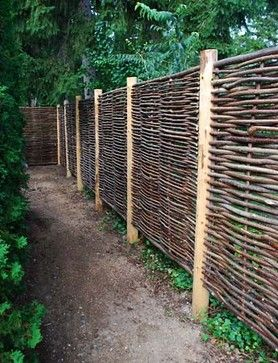 Hazelwood hurdle fence panel i like the basket weave of for Natural garden screening ideas
