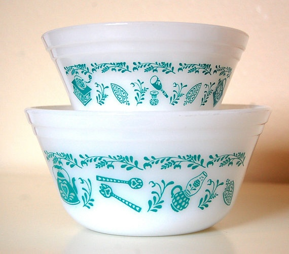 Filled with berries or nummies from the Garden Vintage Fireking Mixing Bowls Mint Green and by SprinklesInTime, $15.00