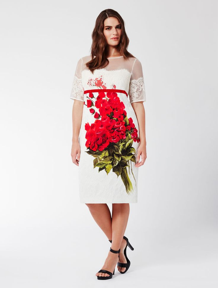 Marina Rinaldi DOCILE white: Stretch jacquard tube dress.