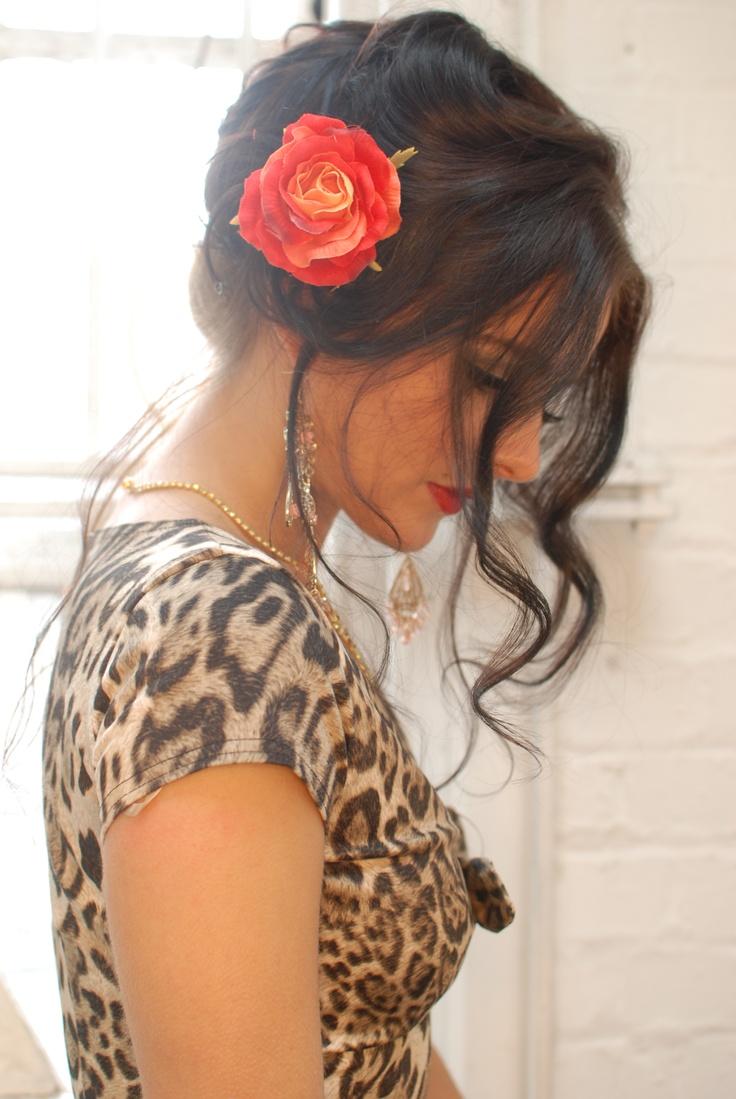 Hair Rose, Leopard print 'Munroe' rockabilly dress by Tara Starlet http://www.tarastarlet.com/Dresses/c1/p204/Monroe+Dress/product_info.html Spanish Gypsy / Italian mafia widow