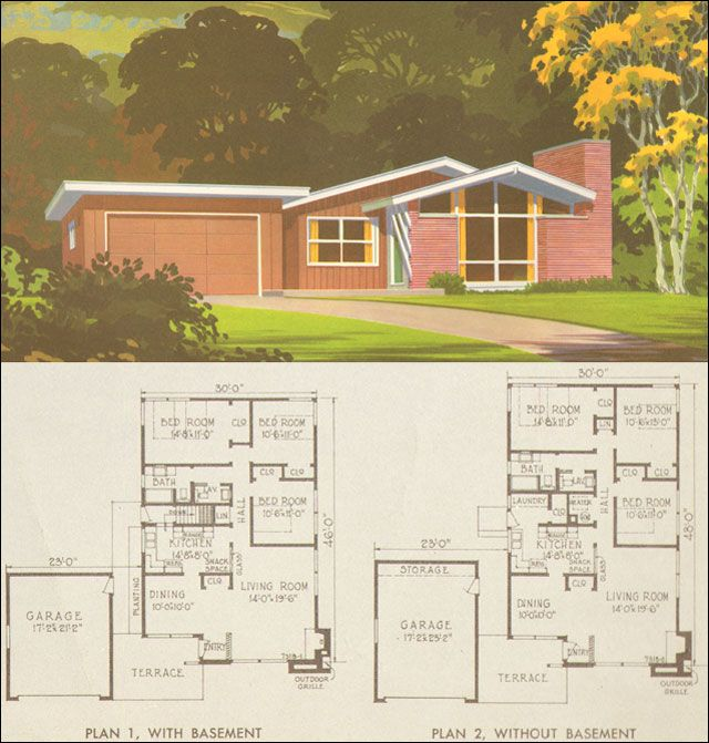 1954 national plan service plan 7318 from mid century home style 3 bed