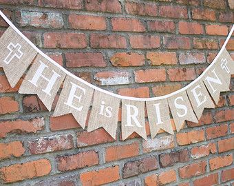 He Is Risen Easter Jesus Burlap Bunting Banner with White Fabric Letters and Cross for Photo Prop, Home Decor, Party or Church Decoration