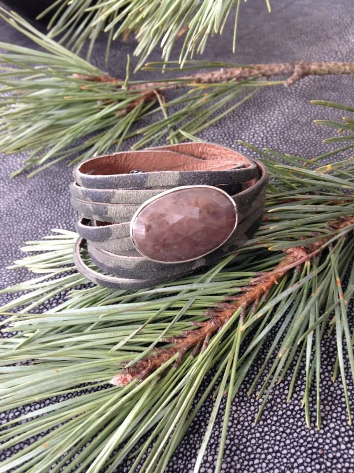 Green Camouflage Leather Cuff.  http://bit.ly/1ywcdL0 www.RachelOlesker.com