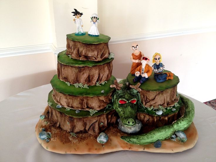 My first tiered wedding cake! Both the bride and groom are massive dragonball z fans! Tiers were chocolate fudge with dark chocolate icing, carrot cake with cinnamon buttercream, orange and ginger cake with ginger and...