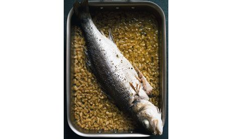 Sea bass in tarragon butter with flageolet beans (and new potato salad with tarragon) { Nigel Slater }