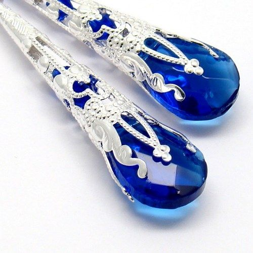 Long Earrings,Cobalt Briolette Crystal,Filigree Silver Cones Earrings
