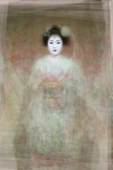Ken Kitano - http://www.ourface.com/    Portraits of a geisha superimposed on top of one another.