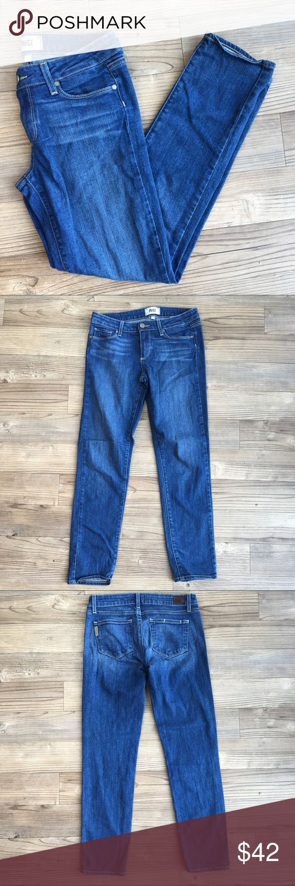 """Paige Premium Denim Jeans Skyline Ankle Peg Style Pre-owned Women's Paige Premium Denim Jeans Skyline Ankle Peg Style Dark Wash Size 27 29"""" Inseam Low Rise 8"""" Waist Flat 16"""" Ankle Flat 6"""" Angelina Style # WJ352 No stains or holes Non-smoking home PAIGE Jeans Skinny"""