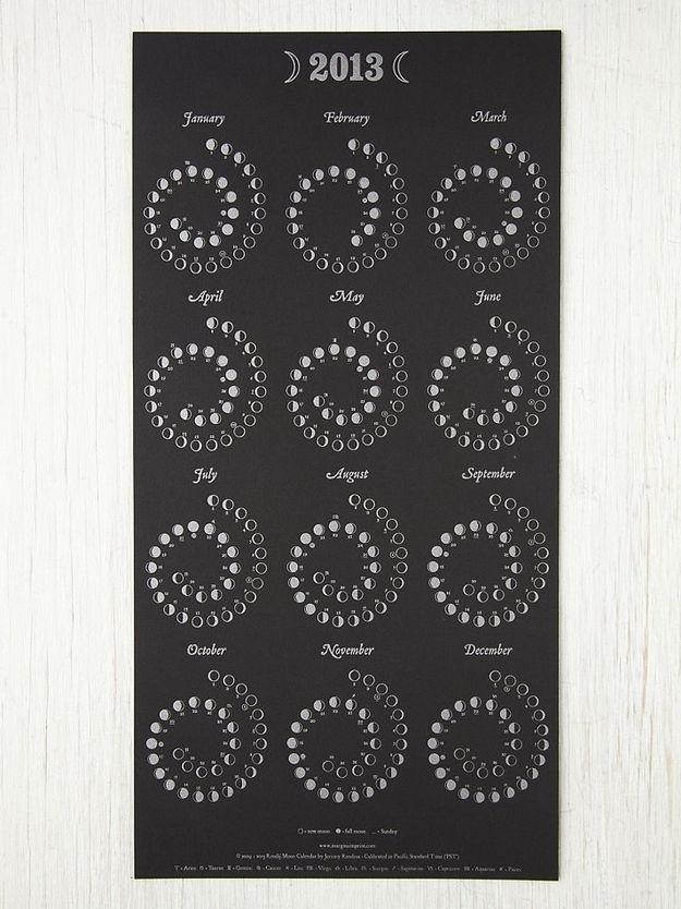 Moon Calendar, $17 | 29 Creative Calendars You Can Make OrBuy