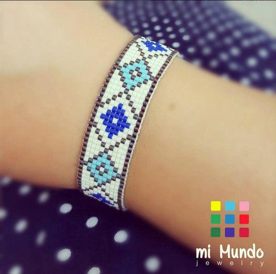 Blauwe diamanten gerolde armband, Boho armband, miyuki kralen armband, hippie armband, giften voor haar, loom Boheemse zaad parel armband