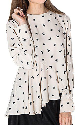 a2f41b96df244e IDIFU Womens Asymmetrical Ruffle Star Moon Print Chiffon TShirt Blouse  White XSmall *** Want additional info? Click on the image.
