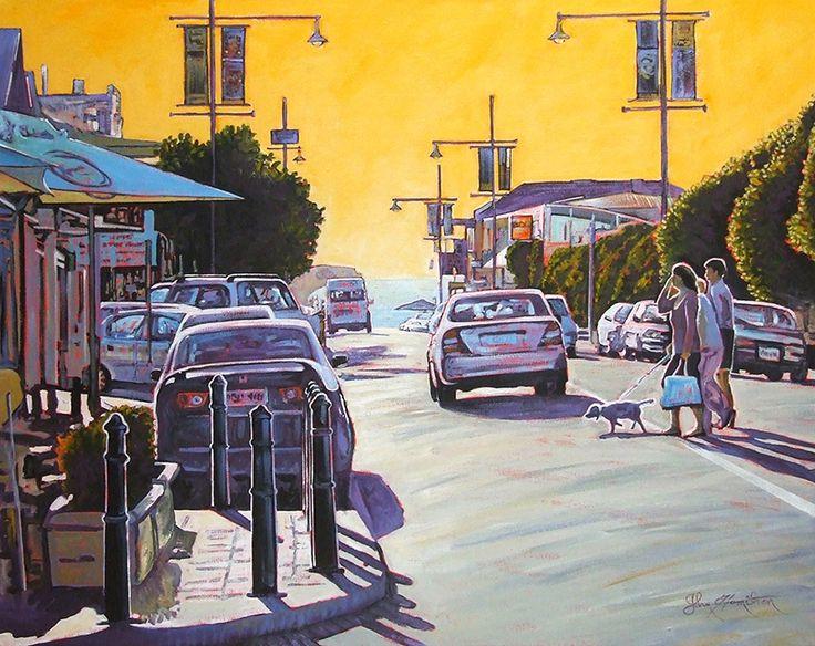 John Hamilton -Crossing jetty road, Brighton 60x45cm, Acrylic