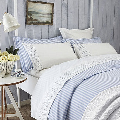 love blue and white in a bedroom