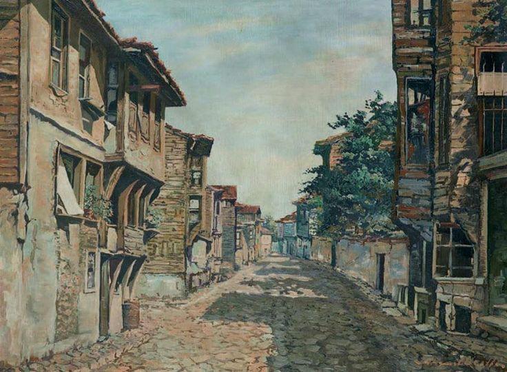 Ahmet Uzelli | Türk Evleri  Mukavva üzerine yağlıboya | 50.00 x 65.00 cm.