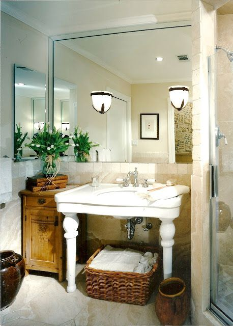 How to have more storage with you have a pedistal sink - from design indulgence: CLASSIC DECORATING 101