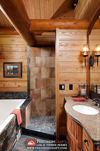 master bathroom in a log home by precisioncraft log homes by precisioncraft log homes - Bathroom Ideas Log Homes