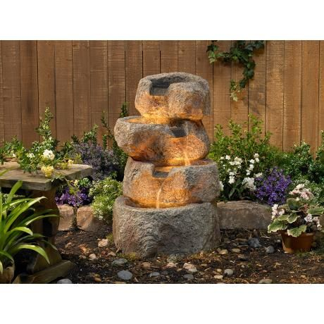 """Glacial Rock Zen 30"""" High Water Fountain with LED Lights ..."""
