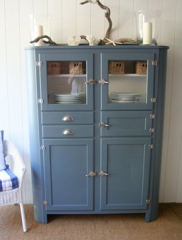 vintage blue kitchen dresser