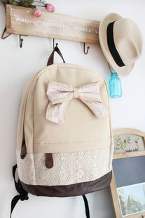 Fashion Cream Backpack with a bow, lace, and leather