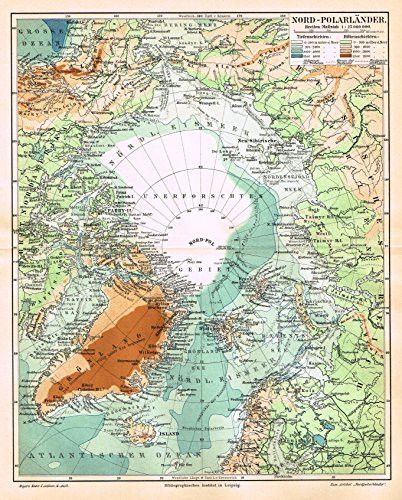"""Meyers' Lexicon Map - """"NORTH POLE"""" - Chromolithograph - 1913"""