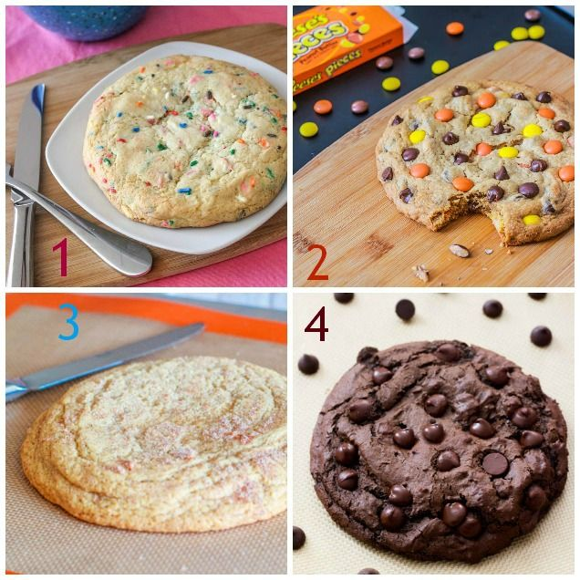 4 Easy Recipes for GIANT XXL COOKIES - each recipe makes one single super huge cookie - 1. XXL Buttery Soft Sugar Cookie; 2. Giant Reese's Pieces PB Cookie; 3. Giant Snickerdoodle Cookie; 4. XXL Death by Chocolate Cookie | by Sally's Baking Addiction