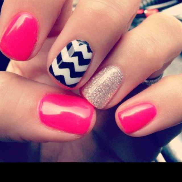 Mix and match: Nails Art, Accent Nails, Cute Nails, Nails Design, Pink Nails, Glitter Nails, Hot Pink, Neon Nails, Chevron Nails
