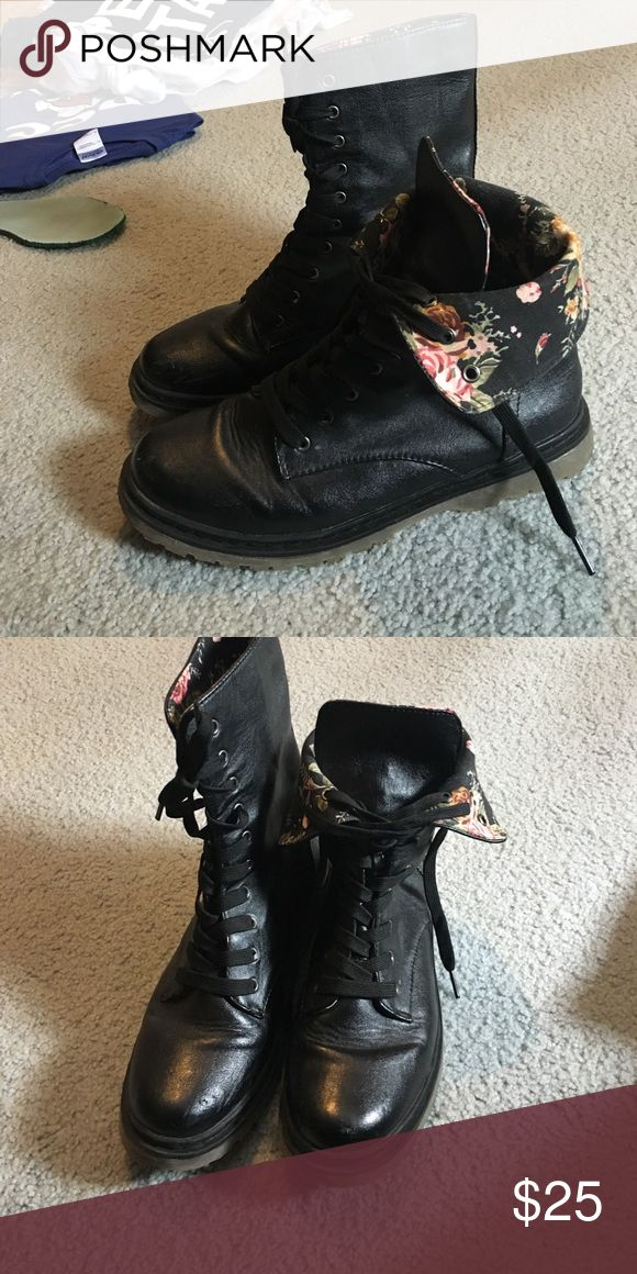 Combat boots These combat boots are in great condition. They can be worn rolled down or not rolled down. If they are rolled down then they are floral print. Shoes Combat & Moto Boots