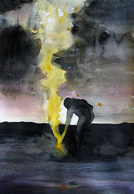 """""""Midnight's Child"""" (2009), by Michelle Blade. Acrylic Ink on paper"""
