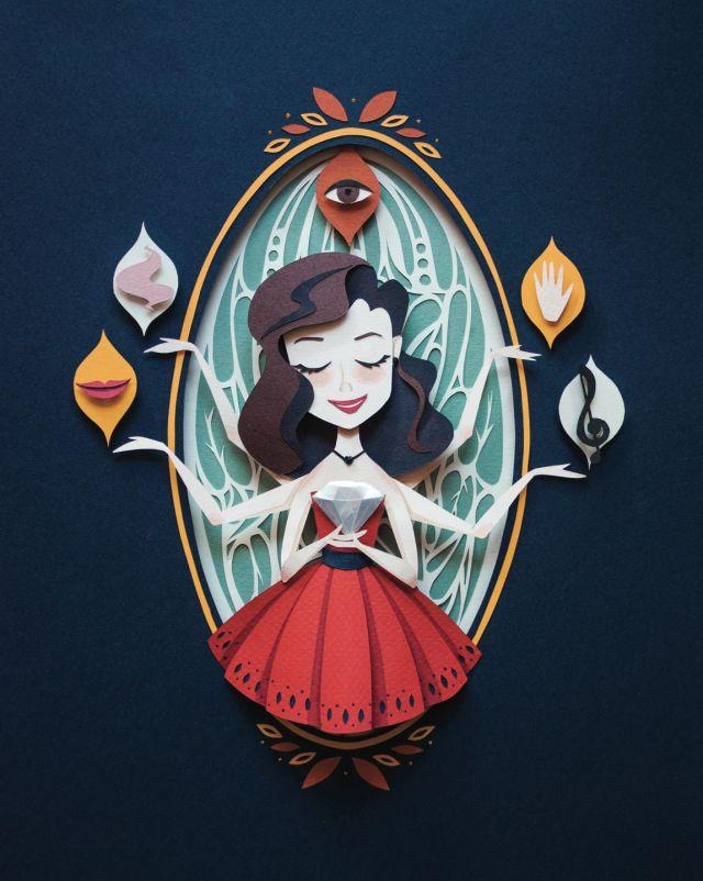 Paper Cut Illustration Lakshmi and Sri by Dana Sanmar