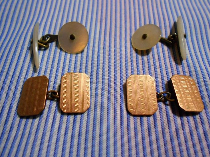 two pairs of vintage cufflinks. one engine turned, one mop