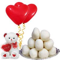 """1 Kg. Rosgulla from Haldiram / Reputed Sweets Shop with 6"""" Teddy and 2 Balloons"""