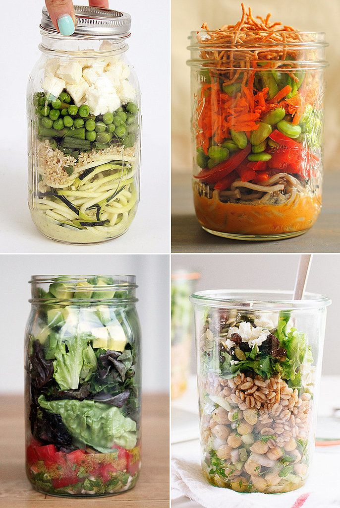A crisp, crunchy salad makes the perfect lunch, but here's a secret: packing your meal in a mason jar actually makes it taste better. Why, you ask? Layering your favorite mix-ins and dressings helps keep your meal from getting soggy ahead of time. It's no matter if you prefer a hearty and sweet salad with grains or a refreshing mix that features the flavors of zesty guacamole; these 15 recipes will help you step up your lunches (or dinners) for good.